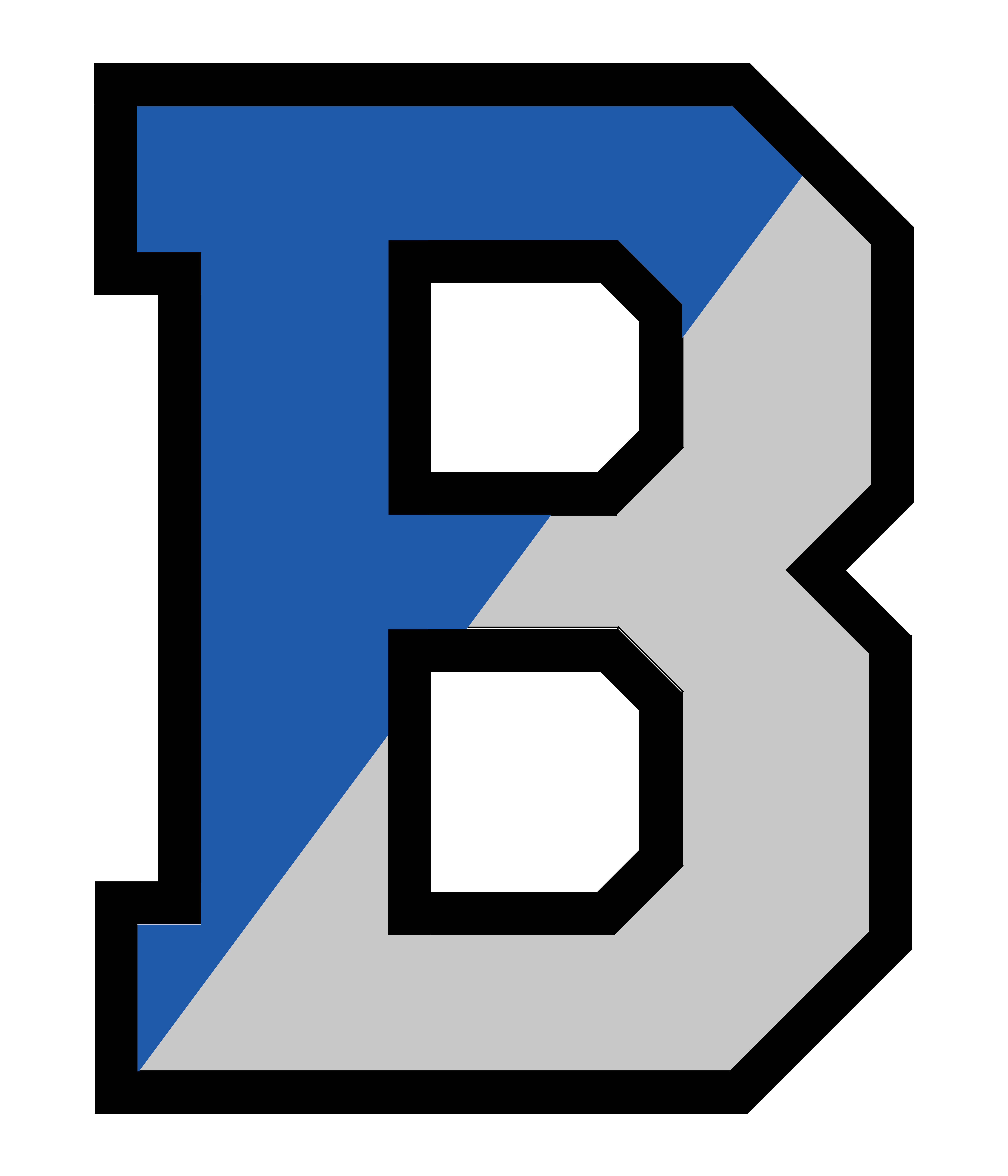 Bensalem School District Logo - Blue and Gray B divided, left half blue, right half gray
