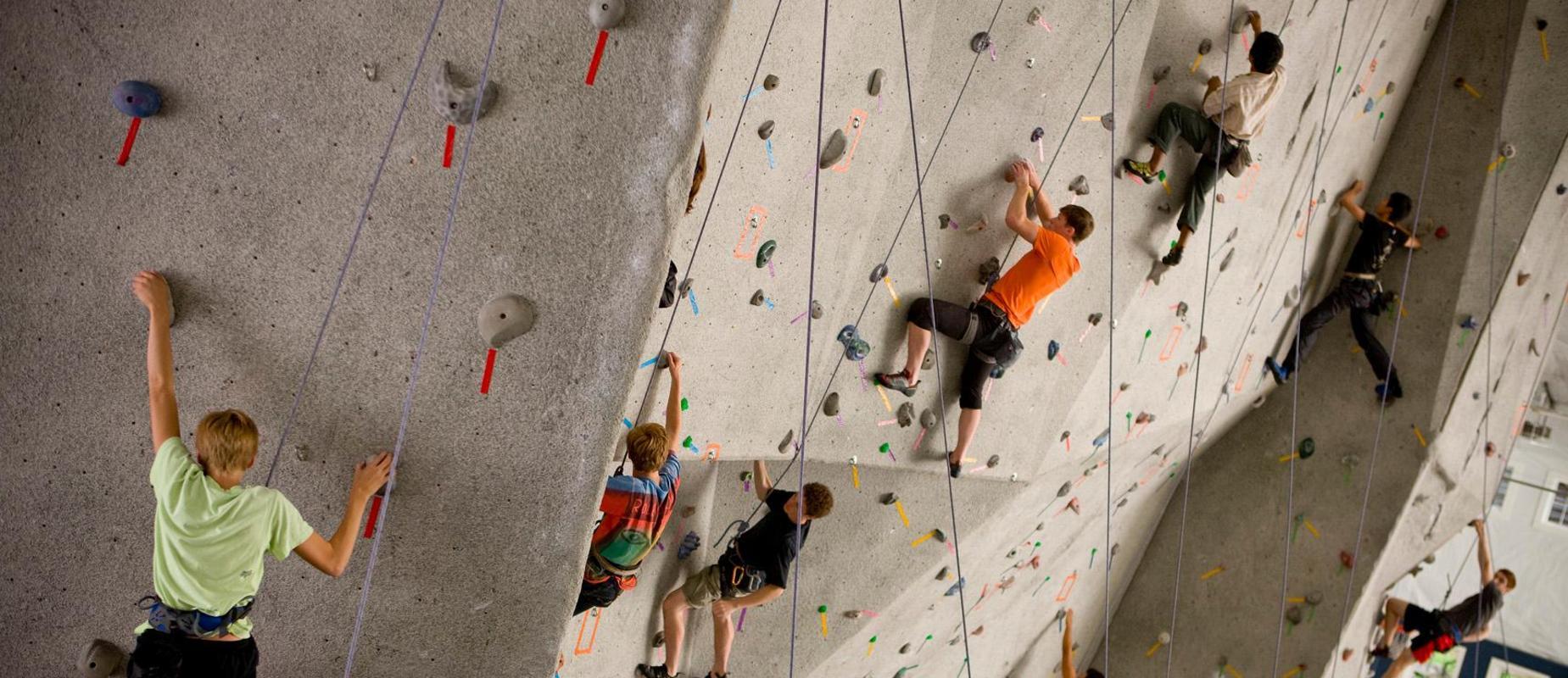 一群学生在攀岩墙上.