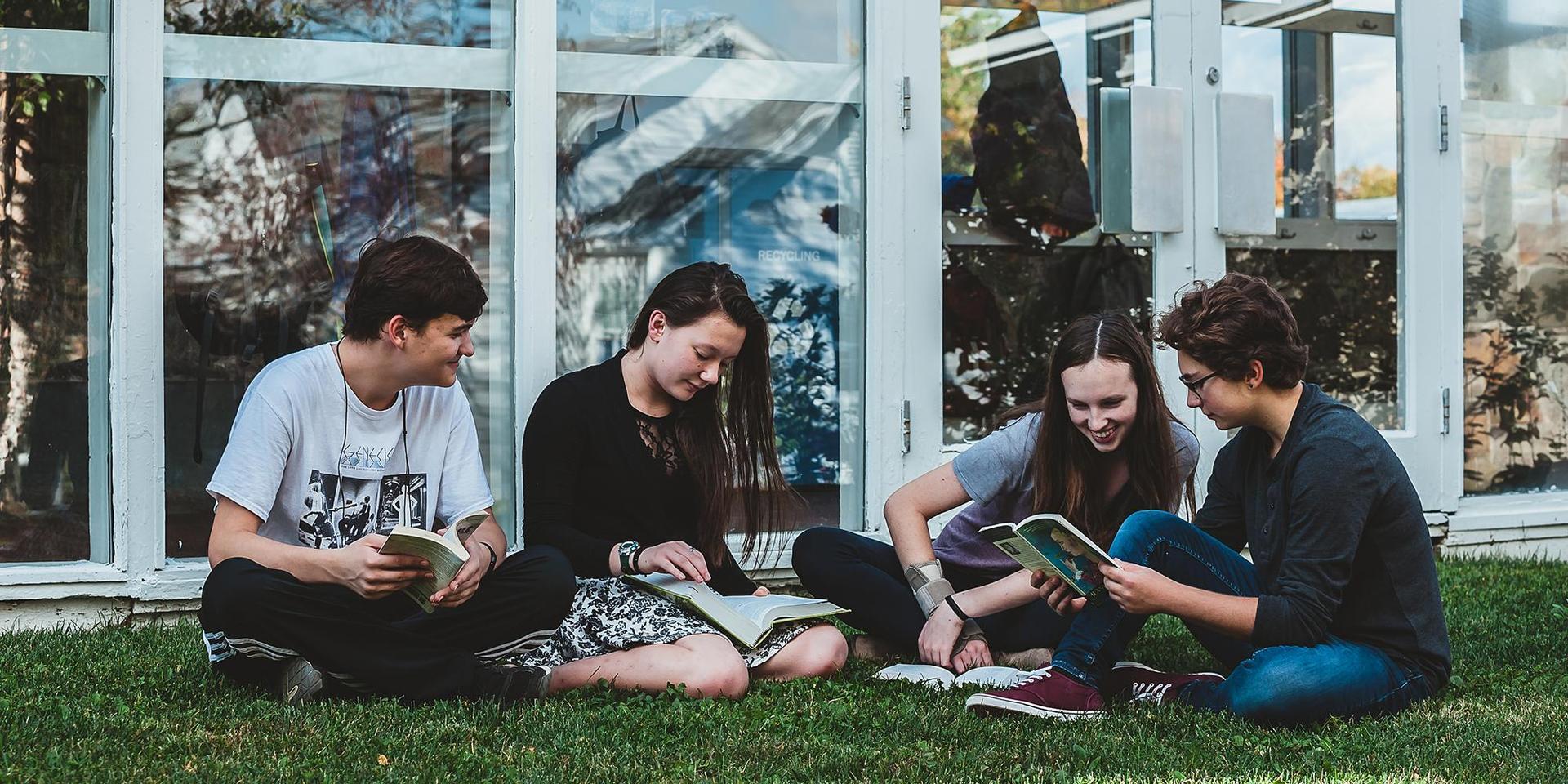 一群学生在玻璃走廊外的草坪上学习.