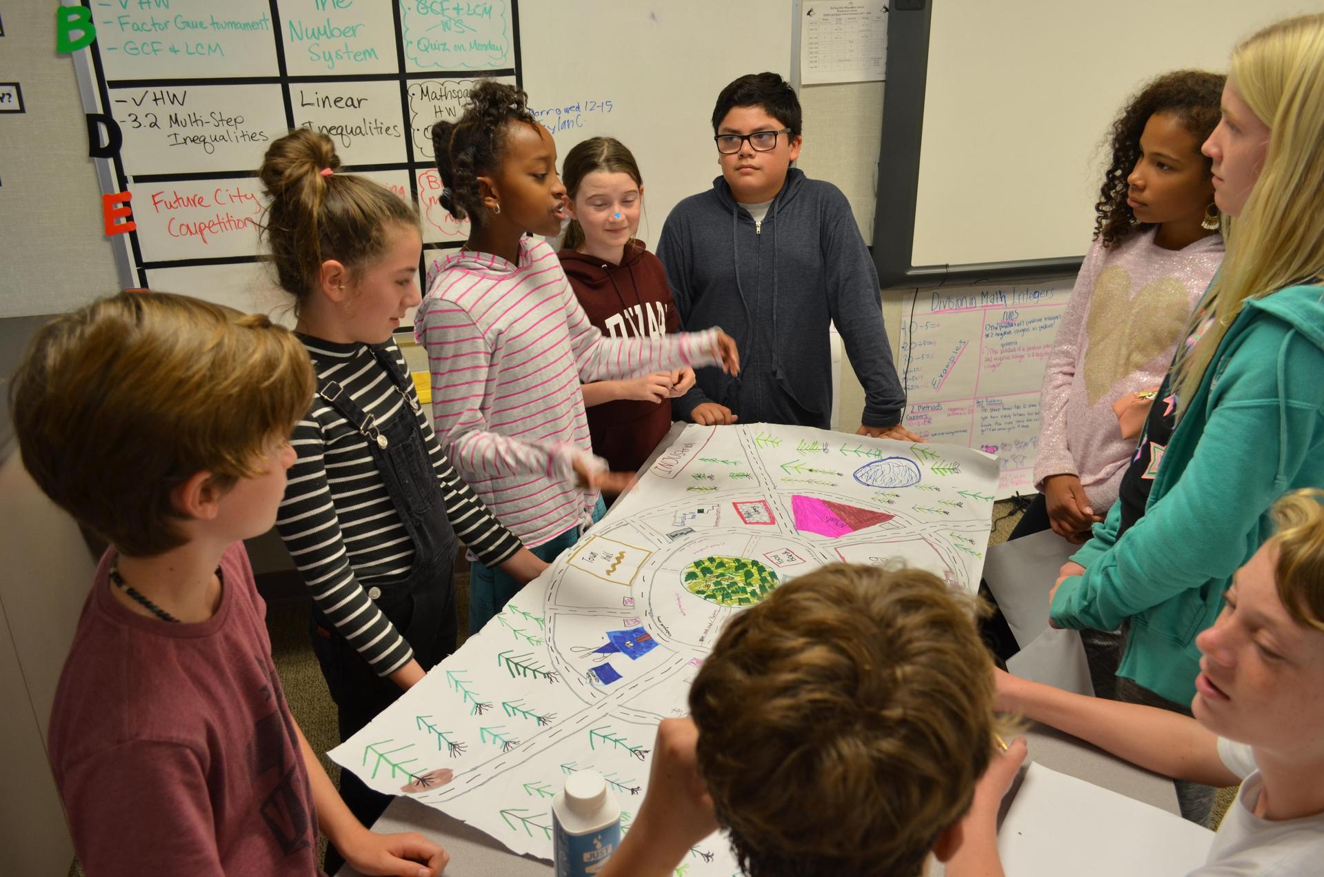 初中生给他们的同学做项目报告.