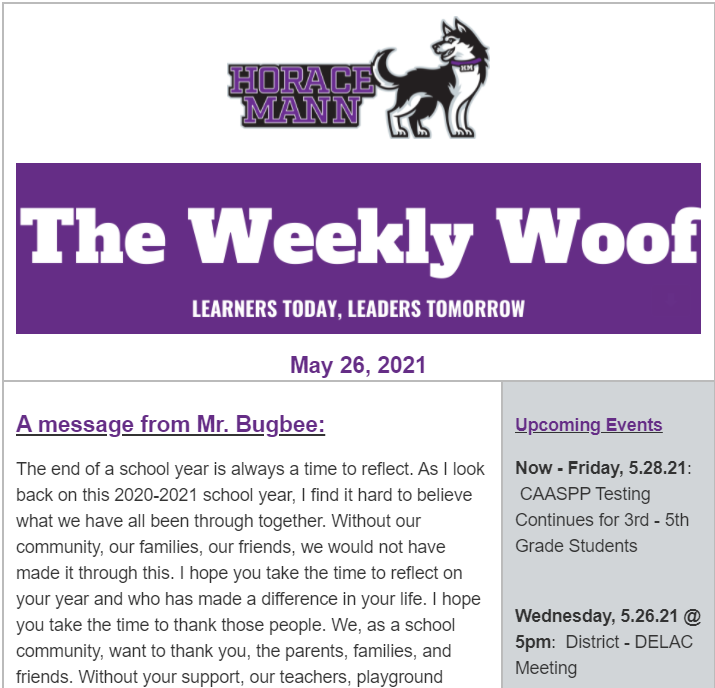 The Weekly Woof Newsletter for May 26, 2021 Featured Photo