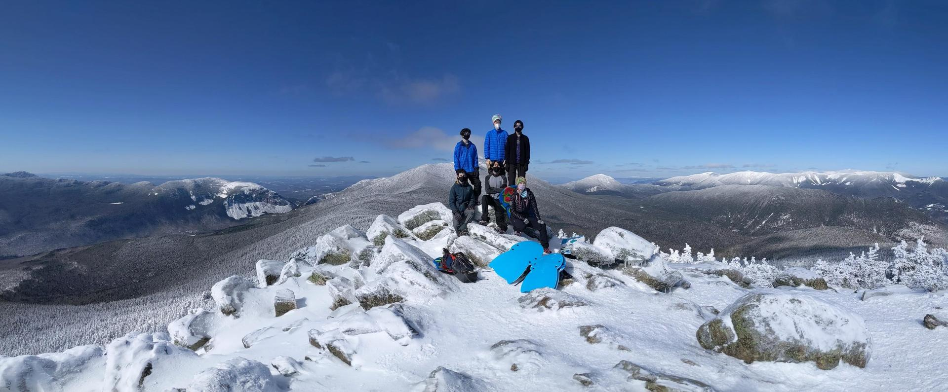 Students at the summit of Mount Liberty.