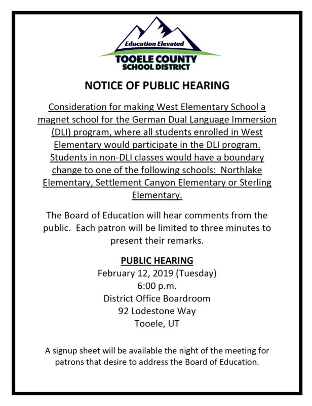 Public Hearing notification for Feb. 12 2019 for making West Elementary a magnet school for only DLI German.