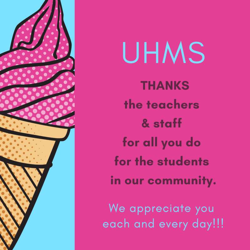 Ice cream cartoon with teacher and staff thank you message