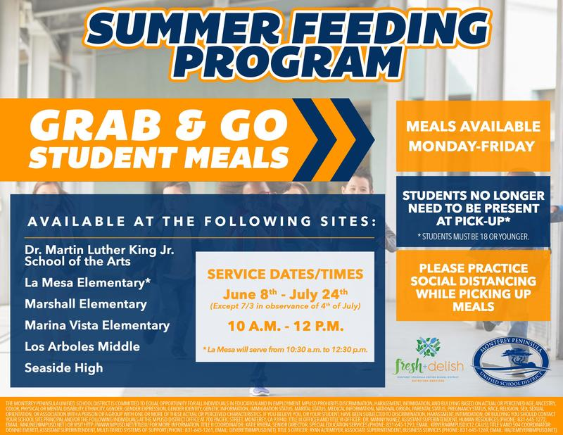 MPUSD offers meals during the summer