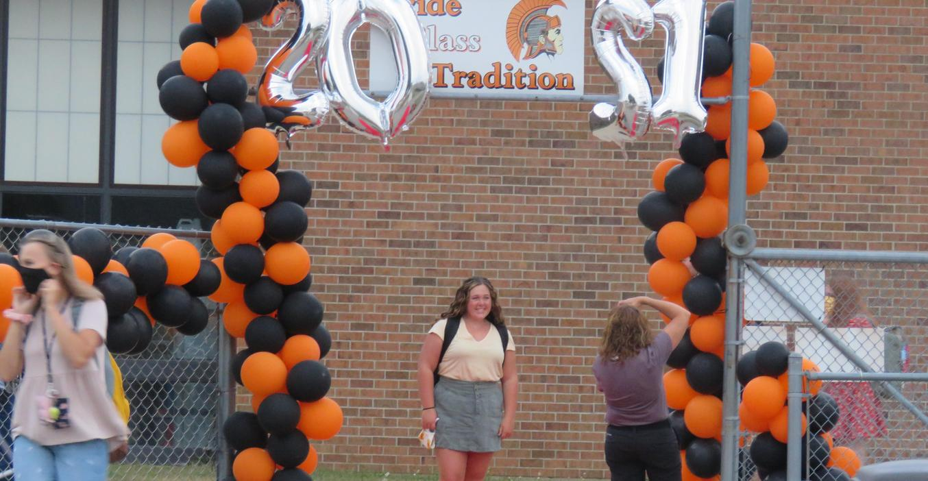 TKHS seniors walked the red carpet and had their photo taken on their last first day of high school.