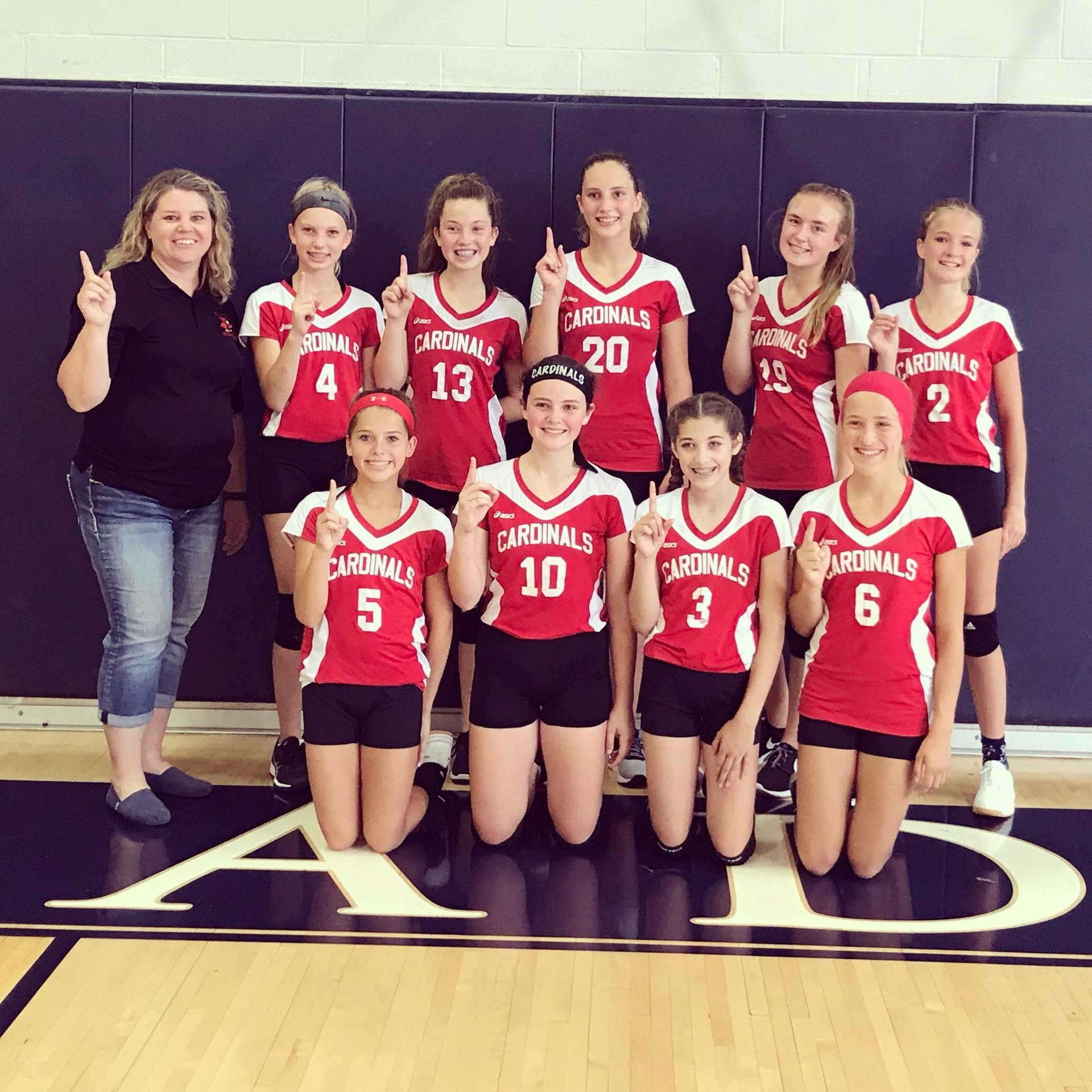 2019-2020 8th grade volleyball team