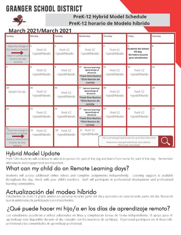 March Food and learning calendar