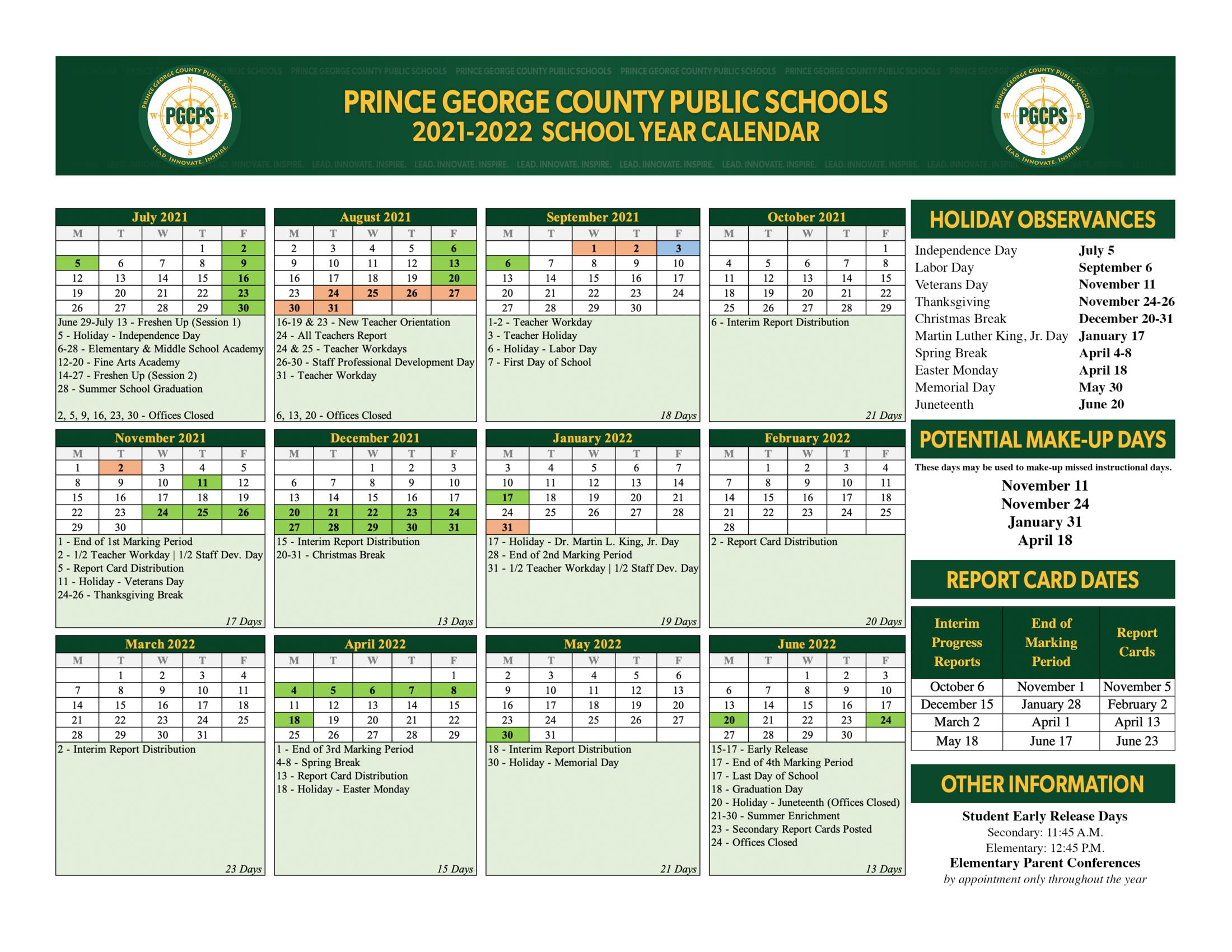 Pgcps Calendar 2022 23.2021 22 School Year Calendar About Us Prince George County Public Schools