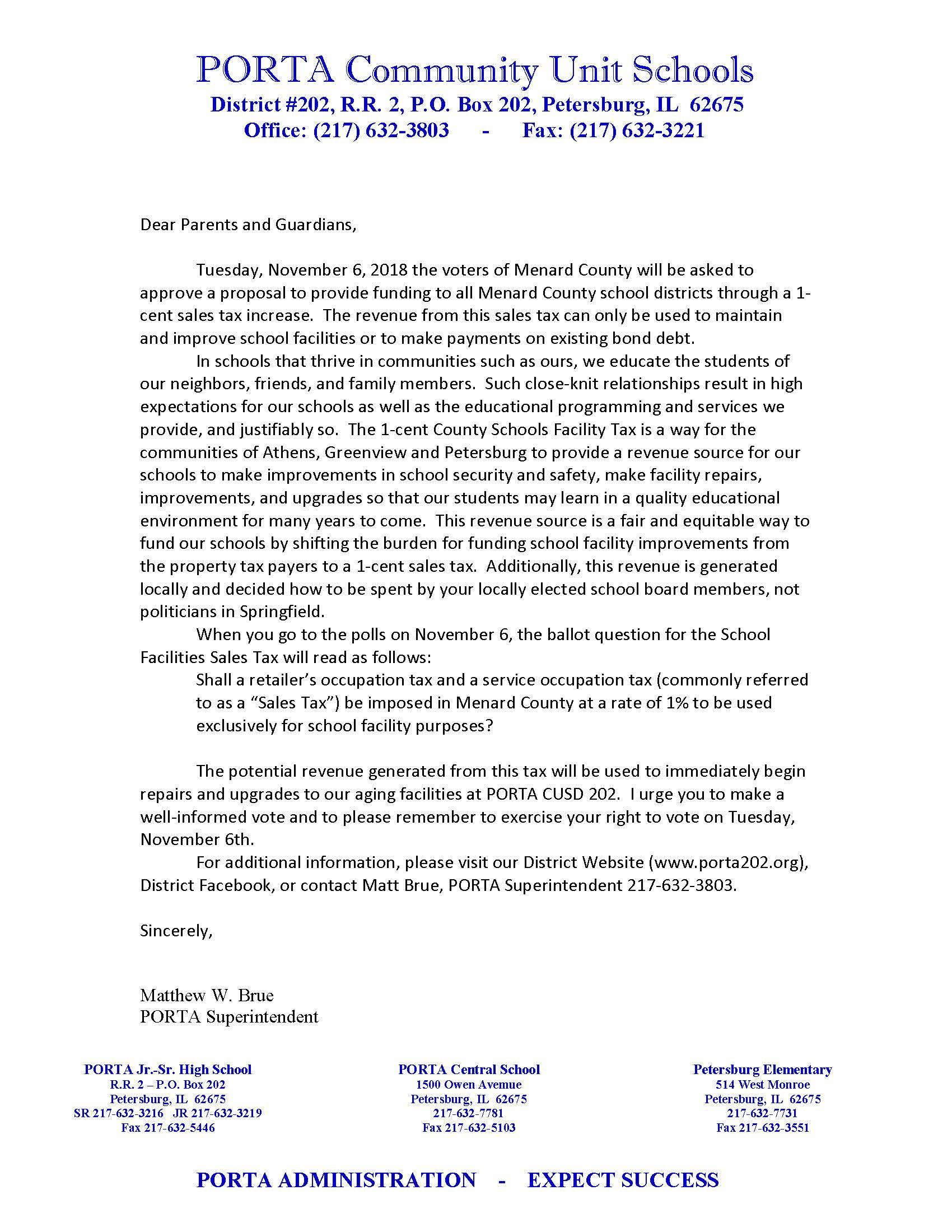Superintendents letter on 1% Sales tax