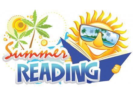 Graphic of the sun holding a book with the text Summer Reading.