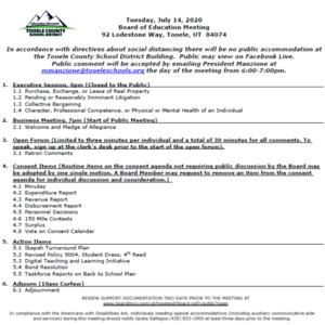 July 14 BOE agenda
