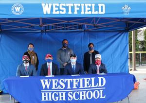 FR/LR:  WHS seniors Sebastian Birse, Matthew Gruters, Mack Prybylski, and Aidan McLane signed National Letters of Intent to play lacrosse at colleges/universities next fall.   BR/LR:  WHS Principal Mary Asfendis, Coach Boomer Wertheimer, Supervisor of Athletics Sandra Mamary