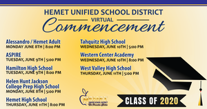 HUSD's virtual graduation graphic