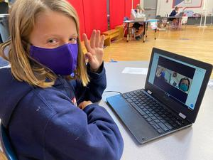 Kindergarteners and fourth graders paired up virtually for the Biggles and Littles program at St. Timothy's.