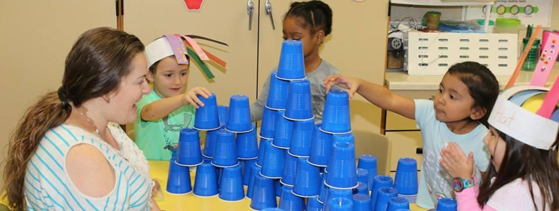 Students stack 100 cups