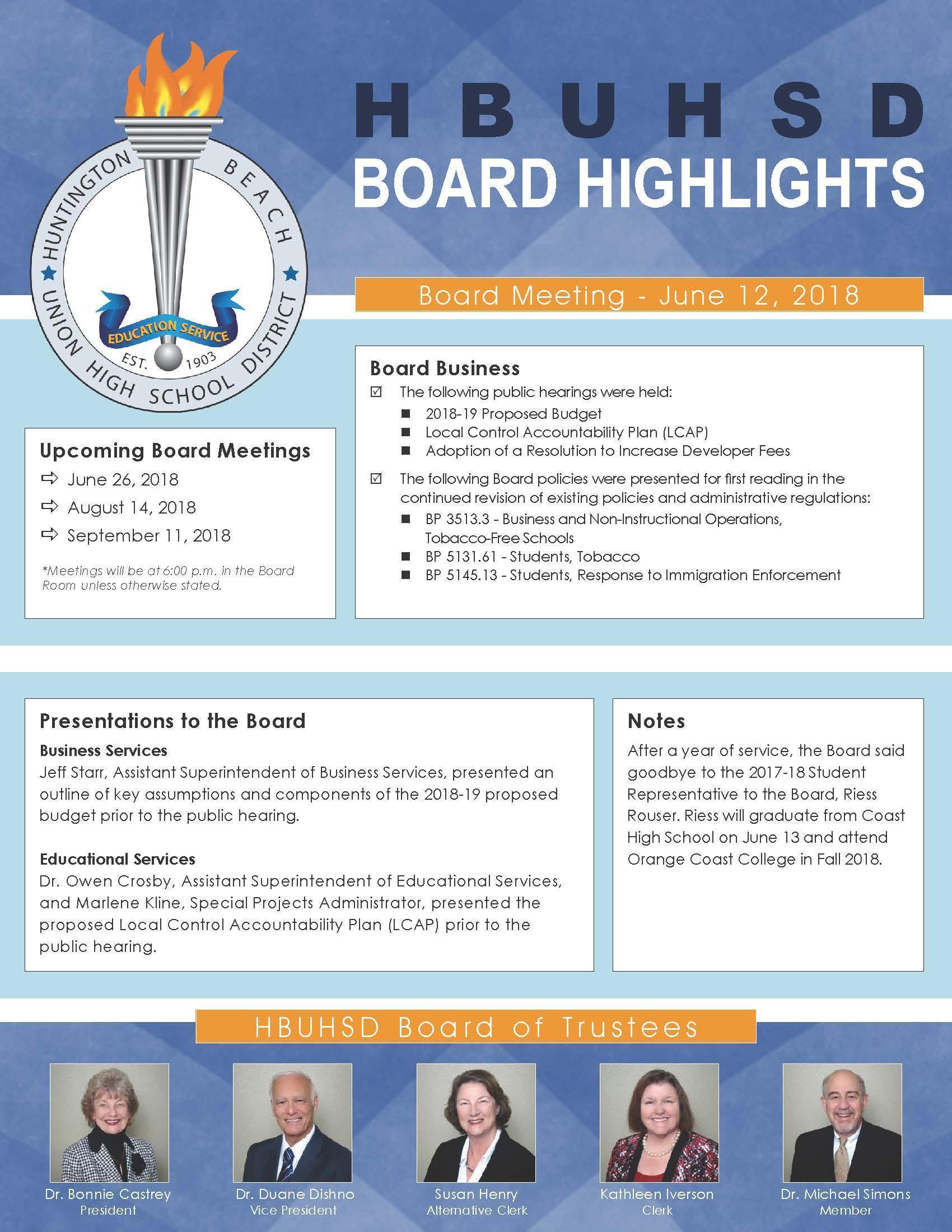 June Board Highlights