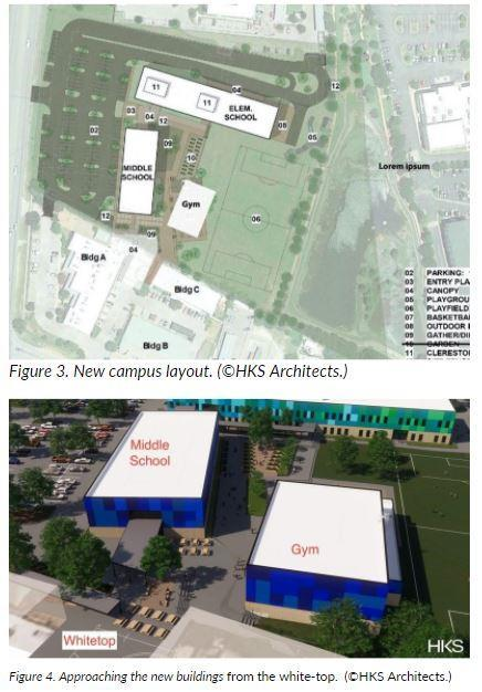 1 rending of new campus layout and 1 rending of approaching the new building from the whitetop.