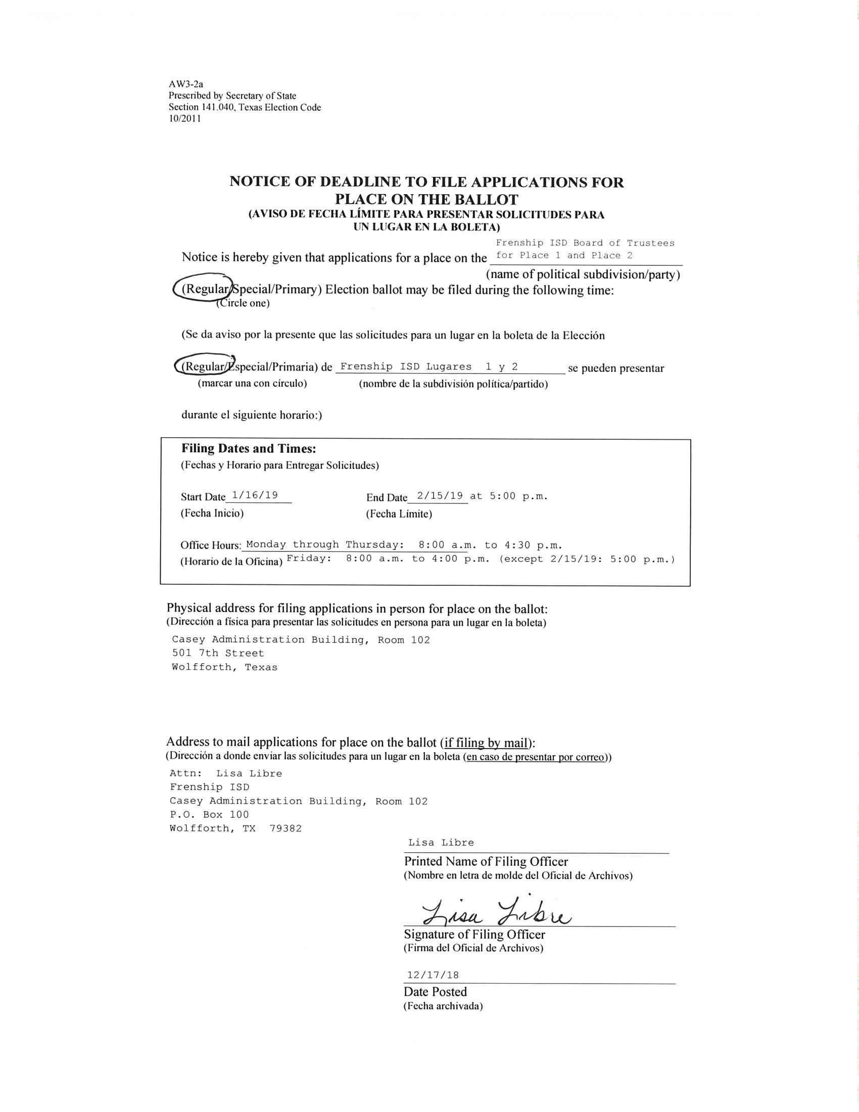 Notice of Deadline to File Application