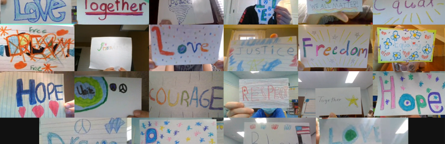 Among the virtual activities during a 4th grade celebration of Dr. Martin Luther King, Jr. on Jan. 15 was a picture of words that one class selected after reading the book