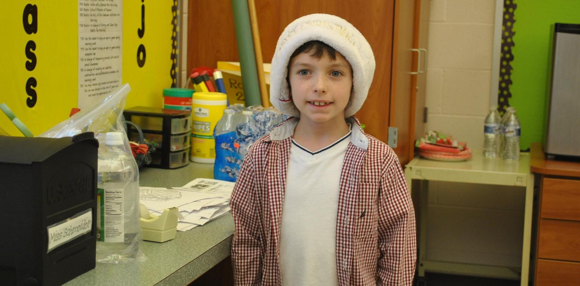 SBPS Student in holiday garb