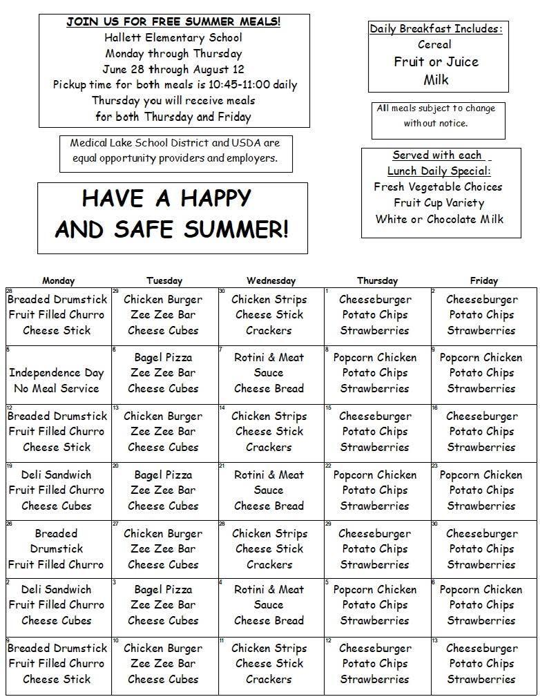 Summer Meal Program Menu