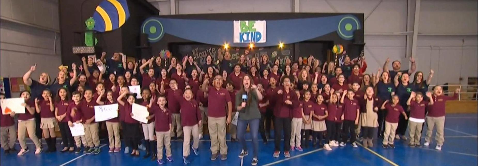 cheering students on the Ellen Show