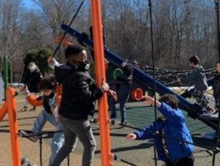 Climbing on the playground