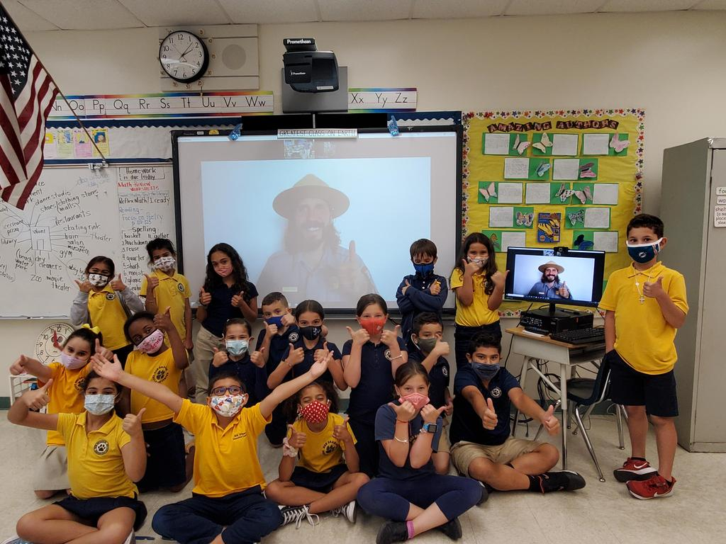 """Everglades Park Ranger Chris """"landed"""" in Ms. Ottaviani's classroom for a presentation on birds of the Everglades and how they use adaptation via their beaks and feet/claws to live and hunt for food in their natural habitat."""