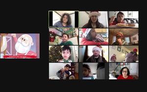 Zoom class watching Christmas video