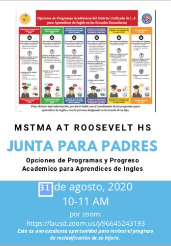 English Learners Program - Parent Meeting   * Programa de Estudiantes Apredices de inglés - Reunión de padres  August 31, 2020, 10am Featured Photo