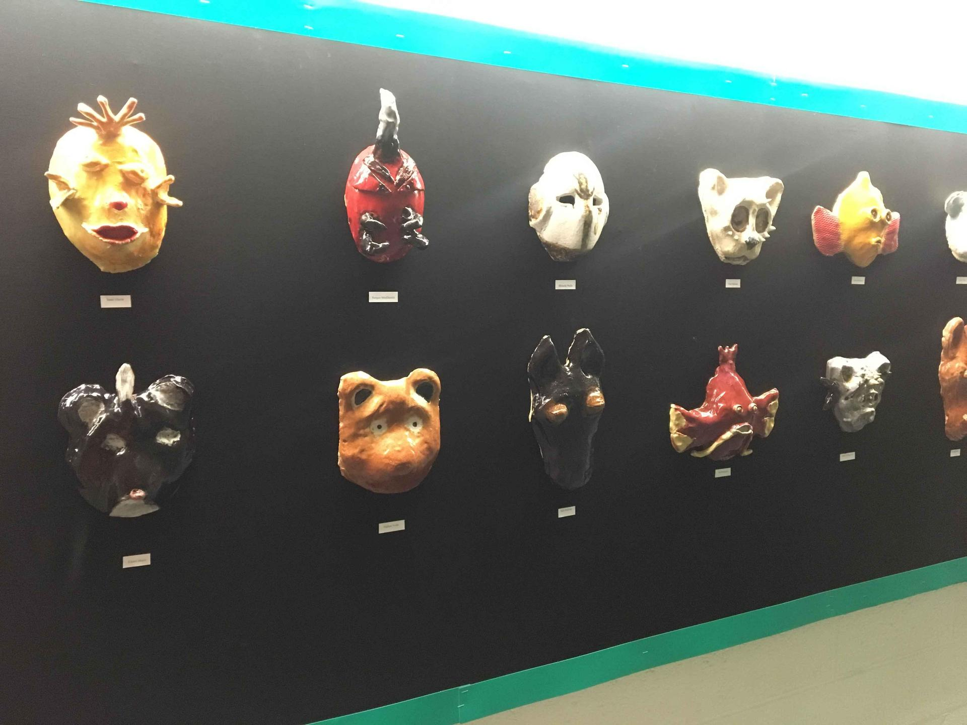 Middle school ceramic masks
