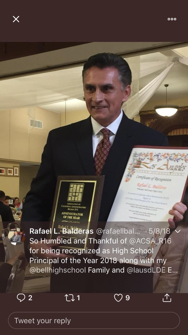 Administrator of the Year-High School Principal Category: Rafael Balderas, Bell HS Image