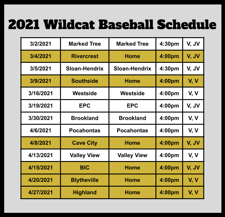 2021 Baseball schedule