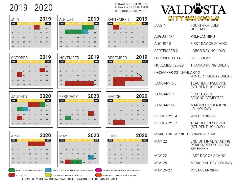 2016-2020 School Calendar Valdosta City School District