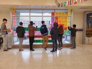 photo of students creating display