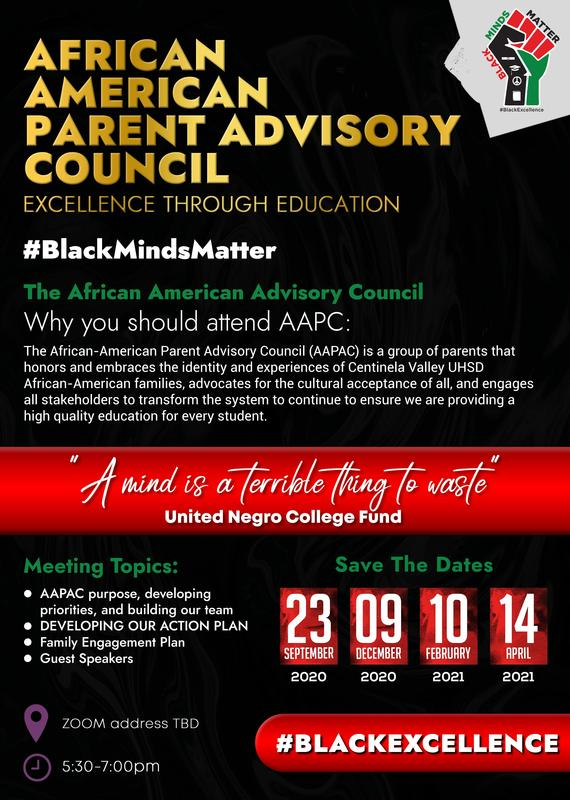 Join us for our African American Parent Advisory Council on Wednesday, December 9th at 5:30pm