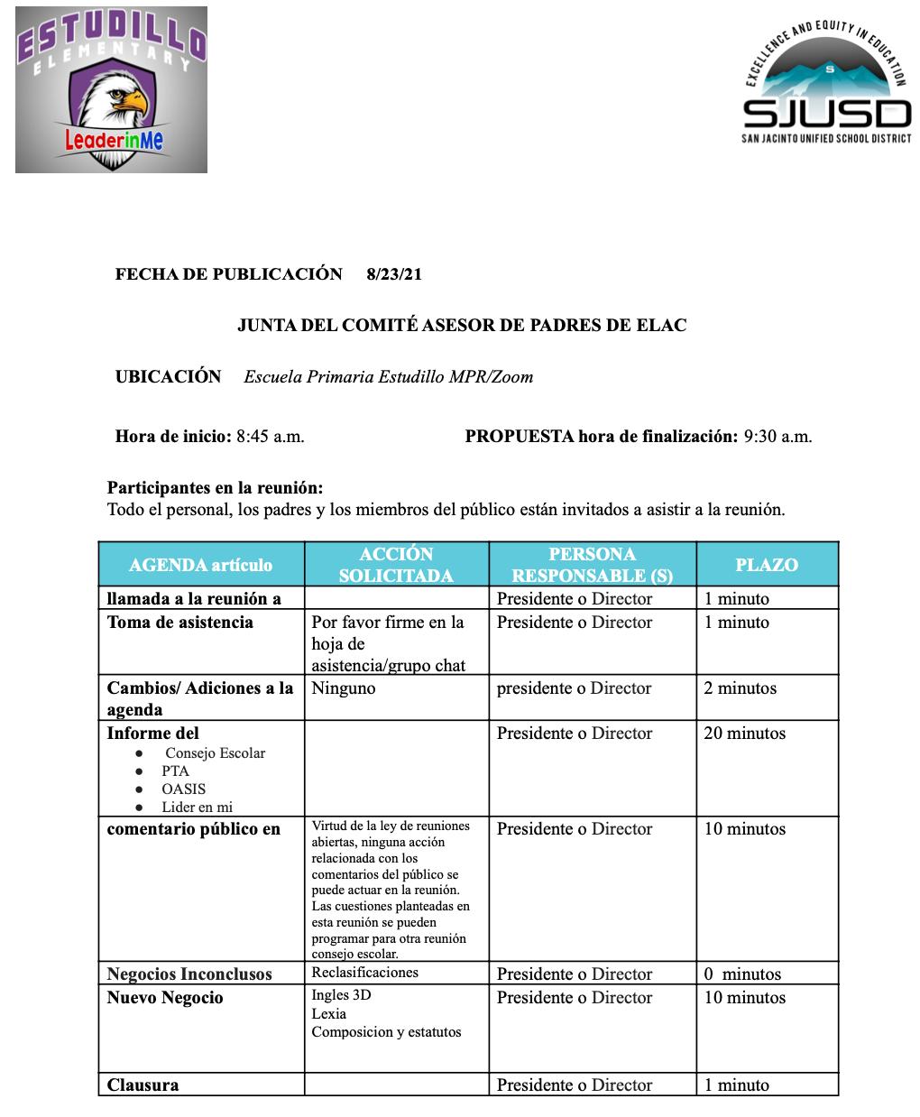 ELAC Agenda 8_26_21 Spanish