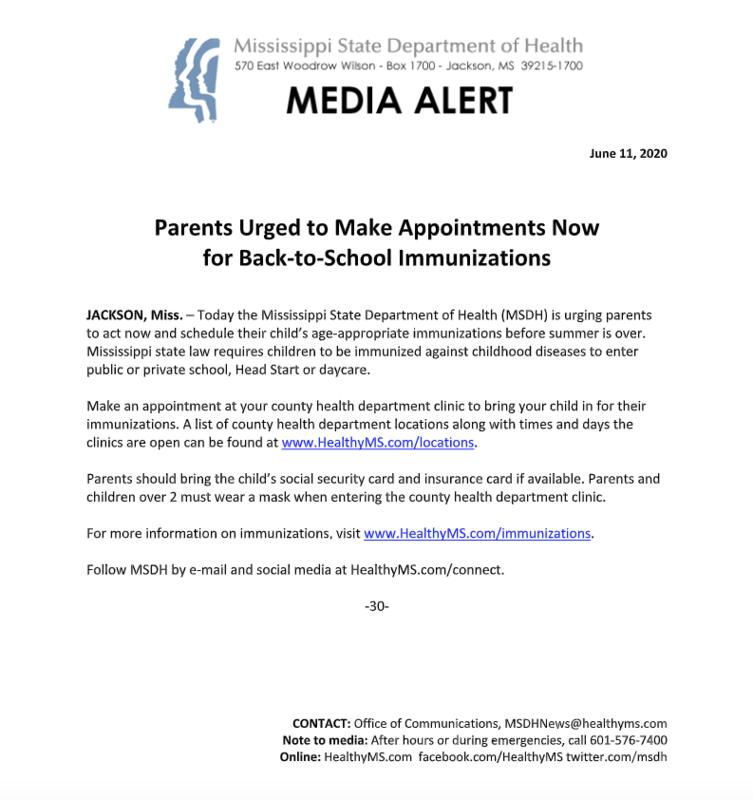 media alert from MDHS