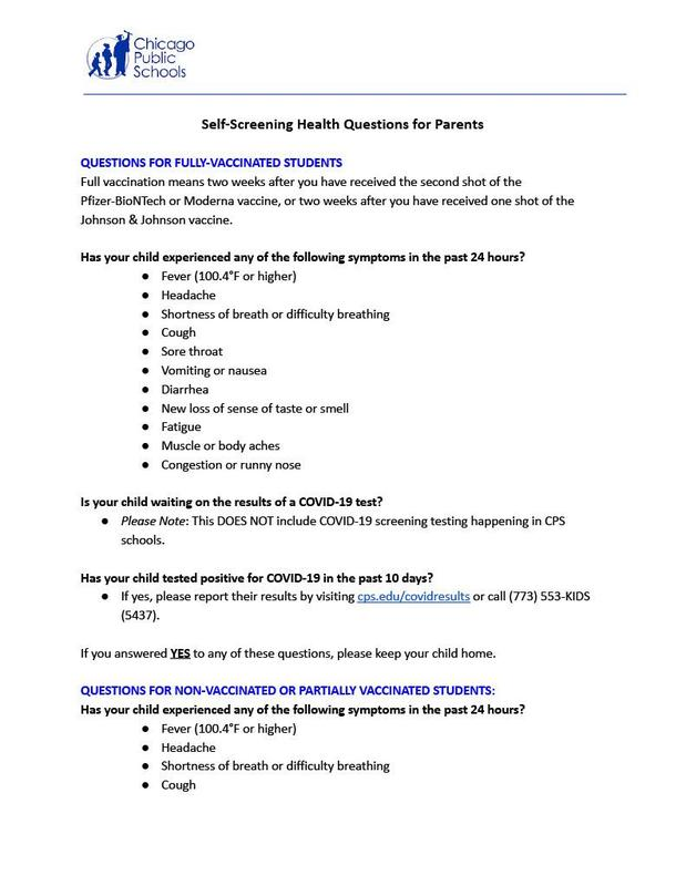 Self-Screening Health Questions for Parents