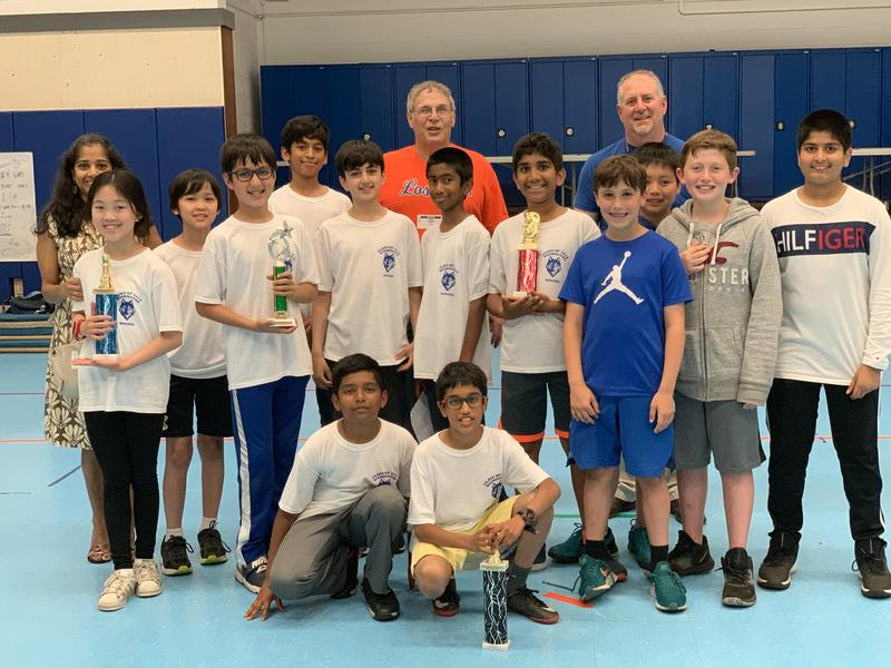Photo: Members of the Washington School chess team with principal Peter Mercurio and coach David Lazarus. Not included are team members Ella Culligan and Aryan Grover