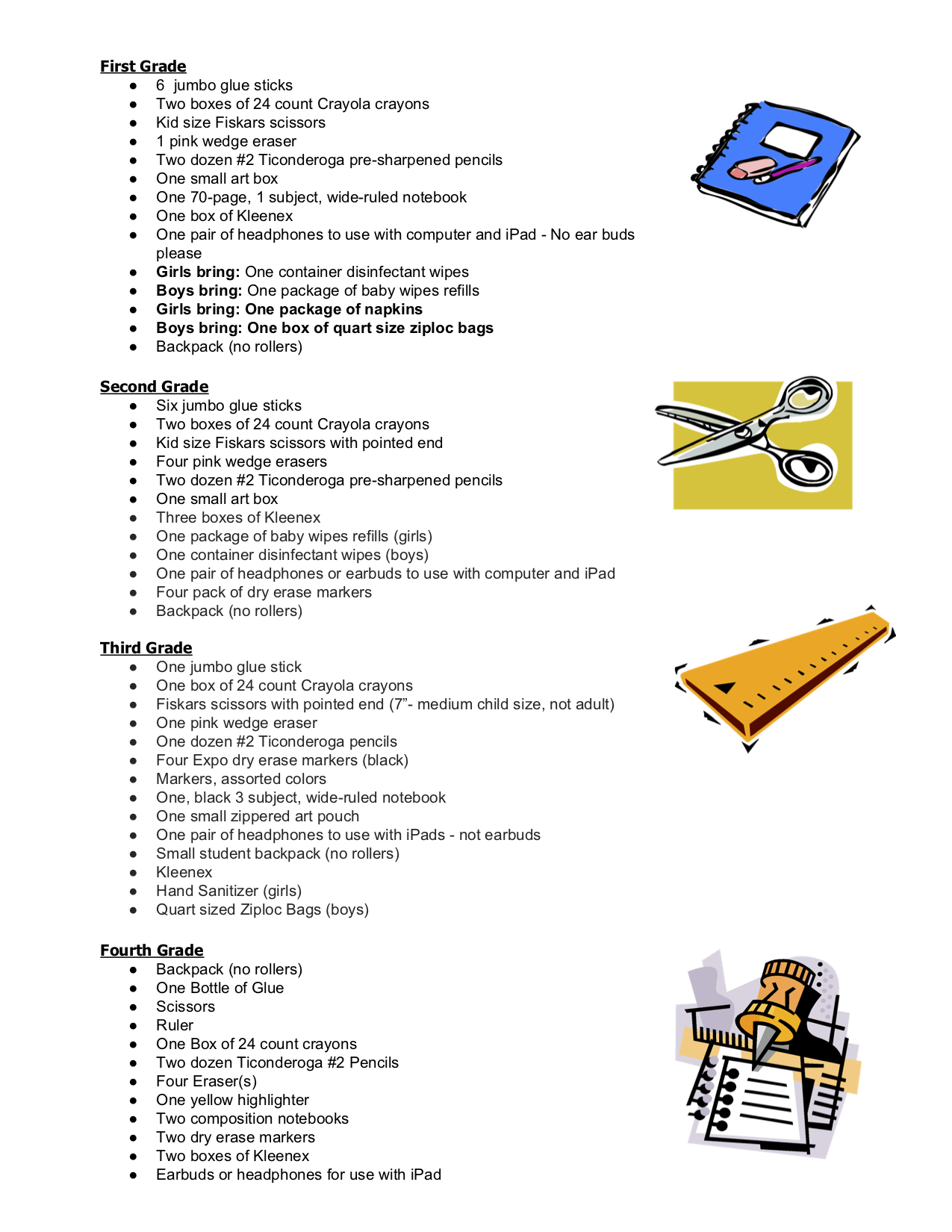 2019-2020 1st-4th Grade Supply Lists