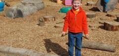 Southview students playing outside, boy