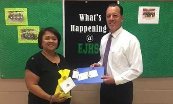 Kip Bertrand from St Landry Homestead brought in donations of clipboards for the faculty and staff at Eunice Junior High School.  Pictured with Mr. Bertrand is Dwanetta Scott, Principal of EJHS.
