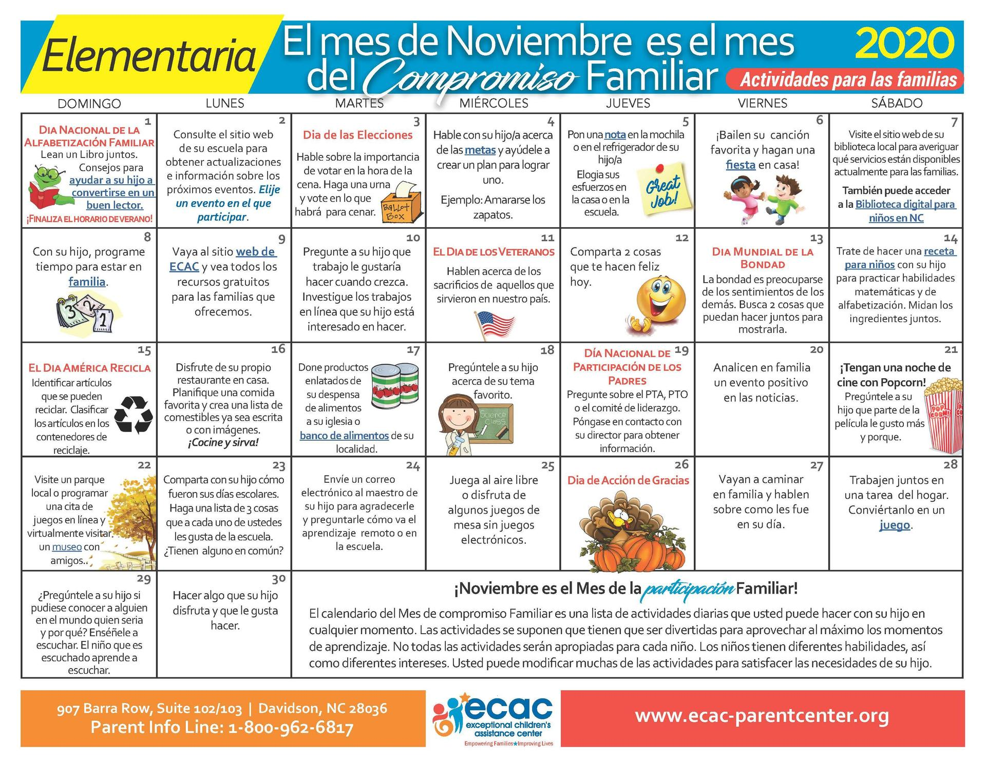 Elementary - Family Engagement Calendar - Spanish