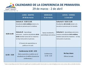 Elementary Spring Conference Schedule - Spanish