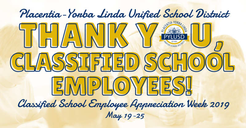Classified School Employee banner for PYLUSD 2019.