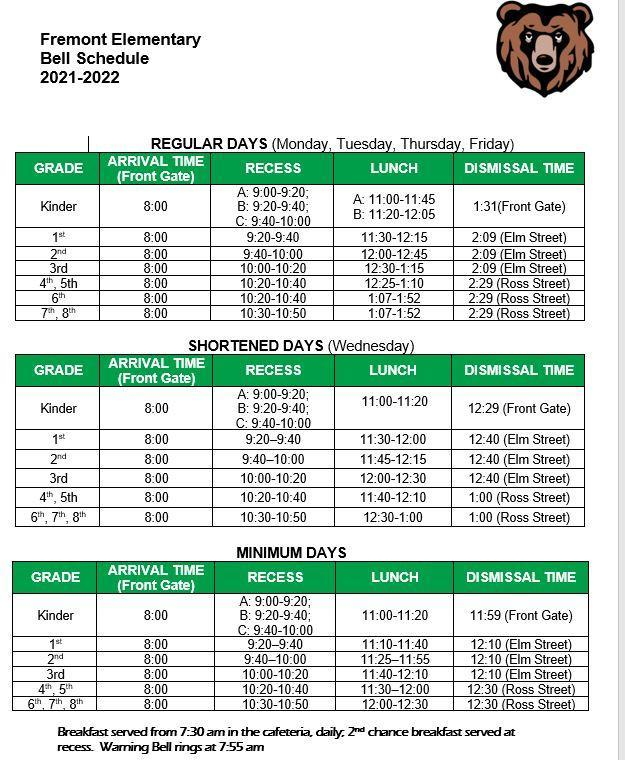 Fremont Bell Schedule 2021-2022 Featured Photo