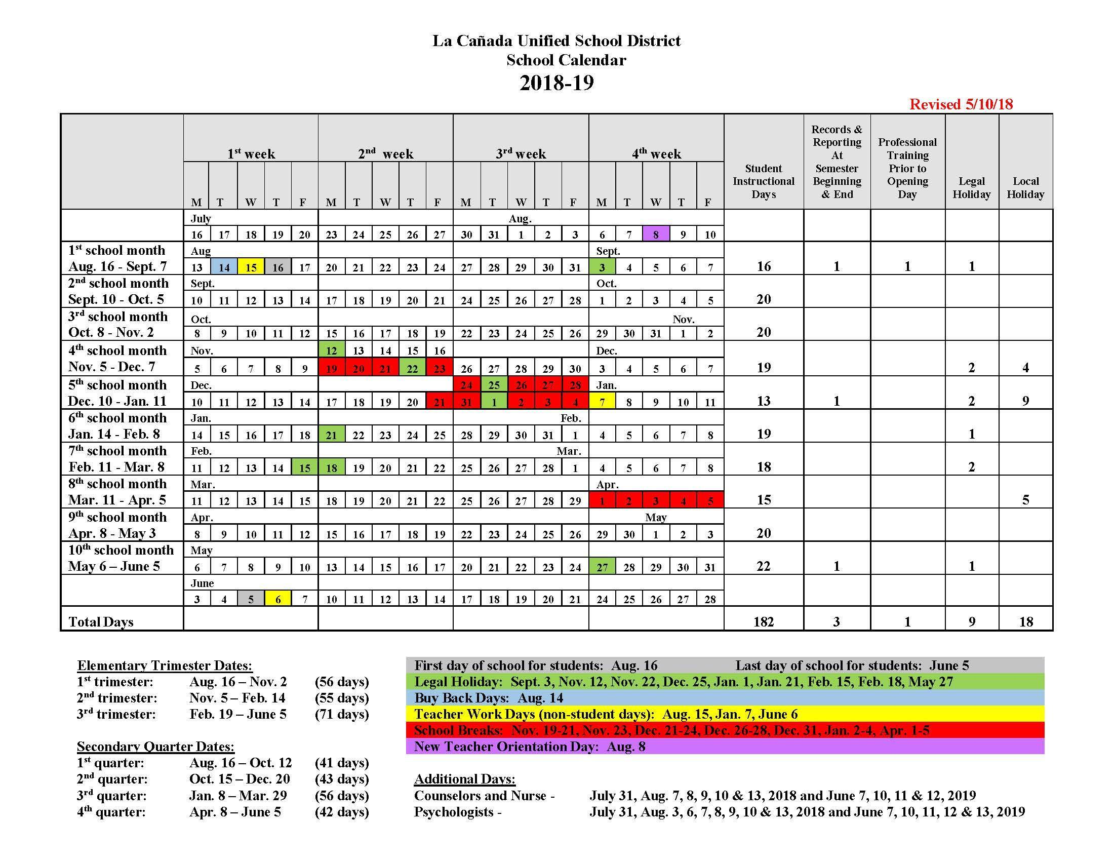 Instructional Days Calendars Yearly Calendars La Canada Unified