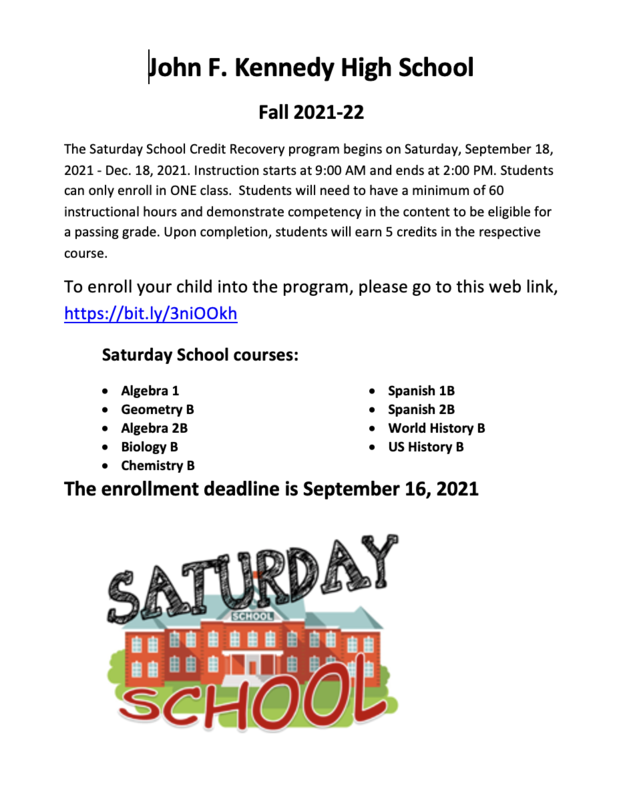Saturday School starts this SATURDAY .... September 18, 2021 Featured Photo